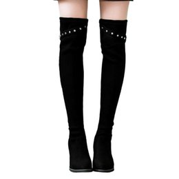 $enCountryForm.capitalKeyWord UK - Shoes Women Boots High Heel Flock Square Heel Women Suede Round Toe High Boot Over The Knee Boot Buckle Strap Heels Shoes