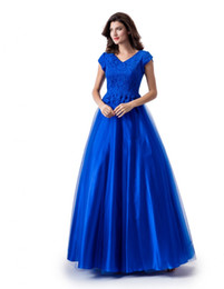 Lace Top Long Tulle Prom Dress UK - New A-line Royal Blue Long Modest Prom Dress With Cap Sleeves V Neck Lace Top Tulle Skirt Floor Length Teens Modest Party Dress