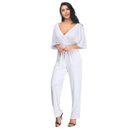 $enCountryForm.capitalKeyWord Australia - Women Sexy V Neck Loose Jumpsuit Short Sleeve Drawstring Long Rompers Casual Plus Size Playsuit