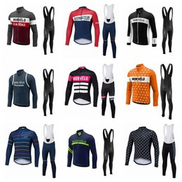 Wholesale Morvelo team Cycling long Sleeves jersey bib pants sets ropa ciclismo Mens Road mountain bike clothes free delivery Q62231