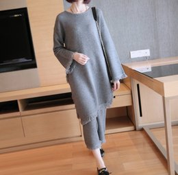 mother asymmetrical dress 2019 - Fashion Knitted Cotton Loose Clothes Suit 2 Pieces O-Neck Full Sleeves Tassel Winter Warm Loose Asymmetrical Clothing Fo