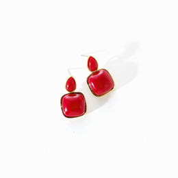$enCountryForm.capitalKeyWord Australia - Korean Statement Wine Red Resin Teardrop Linked Square Pendant Summer Earring Simple Retro Fashion Gold Earring for Women Brinco
