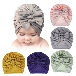 woman summer cloth hats UK - Baby Infant Hats Cotton Cloth Floppy Bow Hairband Toddler Turban Headwrap Winter Warm Beanie Kids Newborn Cap