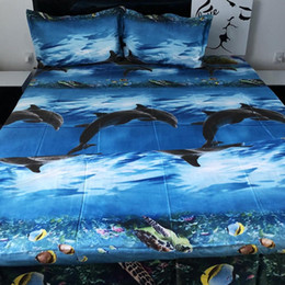 hotel style beds Australia - 4Pcs Home Sea World 3D Painting Bedding Set Duvet Cover Bed Sheet Pillowcase Home Decor