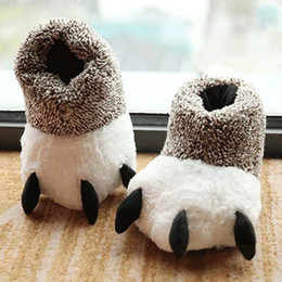 indoor pad 2019 - Fashion Winter Indoor Cotton Padded Plush Cartoon Bear Claw Non-slip Slippers Home Cotton Slippers Floor Shoes cheap ind