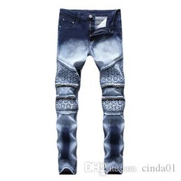 men star print jeans NZ - Star Printed Straight Pants Jeans New Fashion Cool Streetwear Men Dark Blue And White High Elastic Demin Slim Fit Jeans Leggings