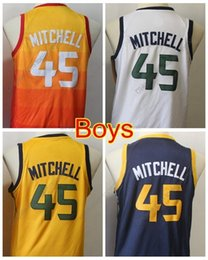 fadb116fe 2019 Boys #45 Youth Donovan Mitchell Jersey Kids Basketball Jerseys Youth  Donovan Mitchell City Yellow Top Quality Stitched Size S-XL