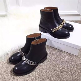 Boot Heel Chains Australia - New Winter Autumn Fashion Ladies Ankle Boots Woman Black Soft Leather Round Toe Platform Boots Chains Low Heels Women Boots