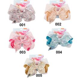 "$enCountryForm.capitalKeyWord Australia - 8"" Sequin Rainbow JoJo siwa Bow With Hair Clip For Girls Kids Handmade Boutique Knot Jumbo Hair Bow Hairgrips Hair Accessories"