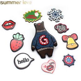 Discount lipstick stickers - Acrylic Badges Pins Badges on Backpack Stripe Decoration Brooch Cute Cartoon Smile Lipstick Christmas Tree For Clothes S