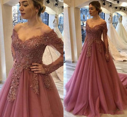 mother bride dresses beaded jacket Australia - 2020 New Modern Mother Of The Bride Dresses Off Shoulder Lace Appliques Beaded Long Sleeves Plus Size Evening Dress Bridal Guest Dress