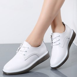 $enCountryForm.capitalKeyWord Australia - 2019 Autumn Women Oxford Shoes Ballerina Flats White Shoes Women Genuine Leather Lace up Boat Shoes Moccasins Loafers