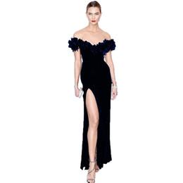 $enCountryForm.capitalKeyWord UK - Sale High Quality New 2019 Designer Maxi Dress Women's Slash Neck Off The Shoulder Slit Velvet Long Dress Gown