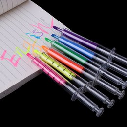 Syringe Supplies Australia - 6 Pcs Lot Creative Highlighter Pens Syringe Design Markers Fluorescent Pen Stationery Scrapbook Material School Supplies