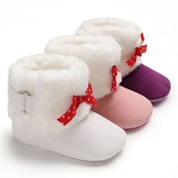 wholesale snow shoes NZ - Infant Baby Girls Snow Boots Winter Warm Soft Sole Crib Shoes Booties Prewalker Newborn Crib Shoes Casual Infant Booties 0-18M