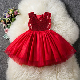$enCountryForm.capitalKeyWord Australia - New Style Princess Sequin skirt Tutu Party Dress Blue Red Ball Gown Formal Dresses Outfits 3-8T
