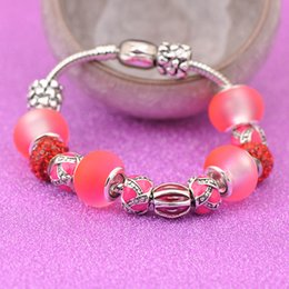 $enCountryForm.capitalKeyWord NZ - Designer 925 Silver Bracelets Fit Pandora Women Red Matte Crystal Glass Beads Openwork Embossed Bangle Heart Shaped Clasp Jewelry P207