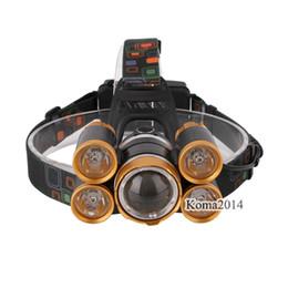 $enCountryForm.capitalKeyWord UK - T6 XPE Aluminum alloy+TPU Golden LED Headlamp front head lamp 18650 Rechargeable Battery tool box Head Light