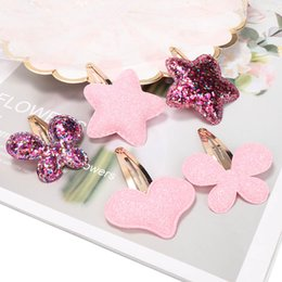 $enCountryForm.capitalKeyWord Australia - New Arrival Summer Style Metal Color Children Shiny Star Hairgrips Baby Hairpins Girls Hair Accessories Heart Star Hair Clip