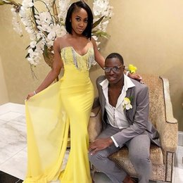 $enCountryForm.capitalKeyWord UK - Sheer Tulle Tank Sheath Prom Dresses Long Tassels Front Sexy Prom Gowns Back Train Yellow Formal Dresses