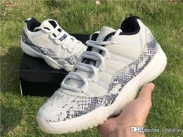 Mesh Fiber Australia - 2019 Best Air Authentic 11 Retro Low SE Snakeskin White 11S Man Basketball Shoes Real Carbon Fiber Sports Sneakers CD6846-002 202jordan