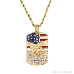 eagle pendant stainless NZ - Stainless Steel Jewelry hip hop Eagle US flag Pendant Necklace with 24inch Rope Chain SN145