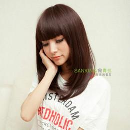 Medium Dark Brown Hair Australia - 100% Real Hair! New Fashion Women's Medium Long Wigs Dark Brown Human Hair Wigs