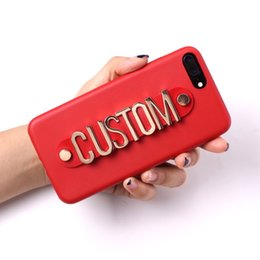 $enCountryForm.capitalKeyWord Australia - Real Leather Gold Metal Luxury Bold Custom Name Text Phone Case Cover Coque Fundas For Iphone 6 6s Xs Max Xr 7 7plus 8 8plus 5 X