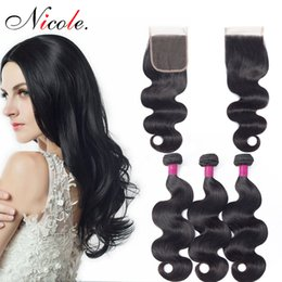 peruvian body wave hair bundles closure Australia - Nicole 8-26 Inch Natural Color Soft Body Wave Bundles With 4*4 Lace Closure Peruvian Hair Bundles 4PCS Non Remy 100% Human Hair ForWomen