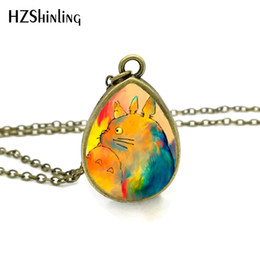 Vintage glass animals online shopping - New My Neighbour Totoro Necklace Japanese Animated Jewelry Tear Drop Pendant Gifts For Girl Vintage Necklaces