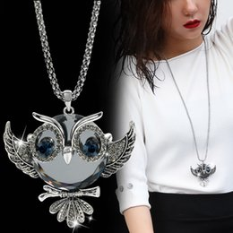 Necklaces Pendants Australia - DuoTang Classic Fox Owl Necklace Silver Color Long Popcorn Chain Animal Crystal Rhinestone Pendant Necklace for Women Gift Jewelry