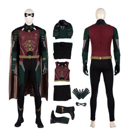 female titan cosplay UK - Robin Costume TV Titans Cosplay Man Full Set Deluxe Version