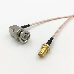 rp sma male plug UK - 90 Degree Right Angle BNC Male Jack to RP SMA Female Plug BNC SMA RG316 RF Coaxial Cable Connector