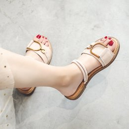 Two Pairs Shoes Australia - Leather Sandals Female Fairy Wind 2019 Summer New Korean Fashion Wear A Pair Of Shoes Wearing Two Cool Slippers Size 34-41