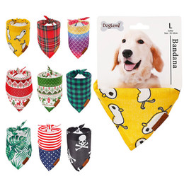 large dog bibs NZ - Small Large Dog Washable Bandana Pet Printed Triangle Bibs Scarf Cotton Linen Plaid Printing Puppy Bibs Collar Neckerchief BH2328 TQQ