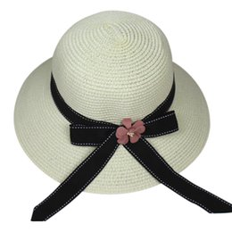 Large brim femaLe hats online shopping - Women Foldable Large Brim Crochet Summer bow Knit West Cowboy Sun Hat UV Beach straw hat sombrero mujer verano female
