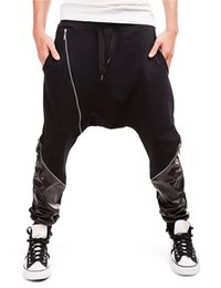 baggy summer trousers UK - Men Cotton Harem Pants Sweatpants Fashion Splice Zipper Hip Hop Baggy Cross Pants 2019 Summer Male Loose Elastic Waist Trouser