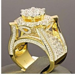 Rock Crystal Cluster NZ - Hip Hop Micro Pave Rhinestone Iced Out Bling Gold Color Ring High Quality Crystal Rock Rings for Men Jewelry Z3N988