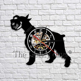 puppy wall decor 2019 - 1Piece Schnauzer Dog Silhouette Wall Art Decor Vinyl Record Wall Clock Animal Puppy 3D Clock Unqiue Gifts For Pet Lover