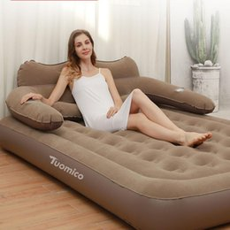 Wholesale Double Person Use Comfortable Type Air Bed Mattress Portable Outdoor Used By Lazy People Inflatable Mat Air Bed With Backrest