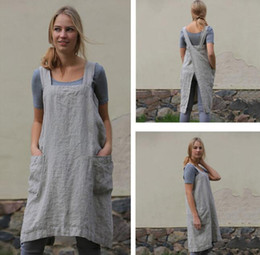 Smock apronS online shopping - Nordic Style Apron bib Coffee shops and flower shops Grey work cleaning aprons for woman smock
