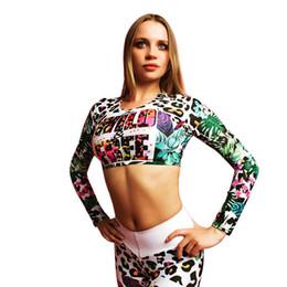 Wholesale sports female t shirt online – design Female Print Yoga Set Fitness Women Sports Running Suit Gym Wear Leggings T Shirts Winter Workout Elastic Quick Dry Yoga Sets S L
