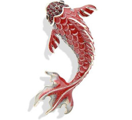 large rhinestone animal brooches Australia - 3 Colors Available Red Enamel Fish Brooches for Women Large Carp Pins Animal Style Brooch Fashion Jewelry Coat Broch