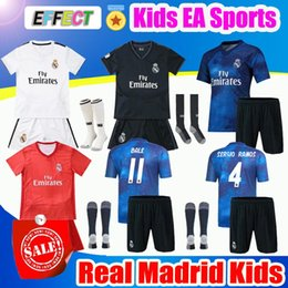 blue real madrid s soccer jersey NZ - 2019 Real Madrid Ea Sports Kids Kit Soccer Jerseys 2018 19 Home White Away 3RD 4TH Boy Child Youth Modric ISCO BALE KROOS Football Shirts