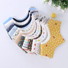 Discount saliva bandana - Baby Bibs Cartoon INS Bibs Burp Cloths Star Striped Cotton 3 layer bibs Bandana Infant Saliva cloth Kids Rotate Towel B1