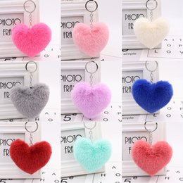 $enCountryForm.capitalKeyWord Australia - Fluffy Heart Keychain Charm Pompom Key Chains Artificial Rabbit Fur Car Key Ring Women Handbag Pendant Cute Jewelry Birthday Gift 2019 M022F