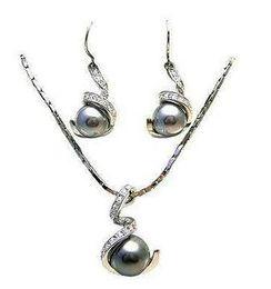 $enCountryForm.capitalKeyWord Australia - Women's Wedding 12MM black pearl pendant necklace earring set > GP Bridal wide watch wings queen moda real silver-jewelry