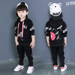 Trends Clothing Australia - Boys Boy Clothes Spring  Autumn New Style Fashion Black Long-sleeved Hooded Two-piece Leisure Trend Sports Black Two-Piece