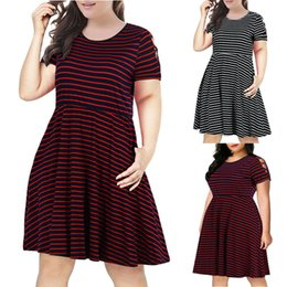 $enCountryForm.capitalKeyWord Australia - Large Size Women's Dress Hot Sale Strapless Short Sleeve Round Neck Fashion Ladies Striped Splice Casual Dresses 2 Colors from XL to 5XL
