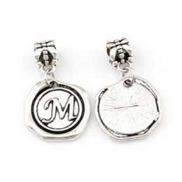 "Disc Bracelet Australia - 50pcs Single side Letter ""M"" Disc Initial Charm Big Hole Dangle European Beads Fit Charm Bracelet Jewelry DIY 18x30.5mm A-469a"